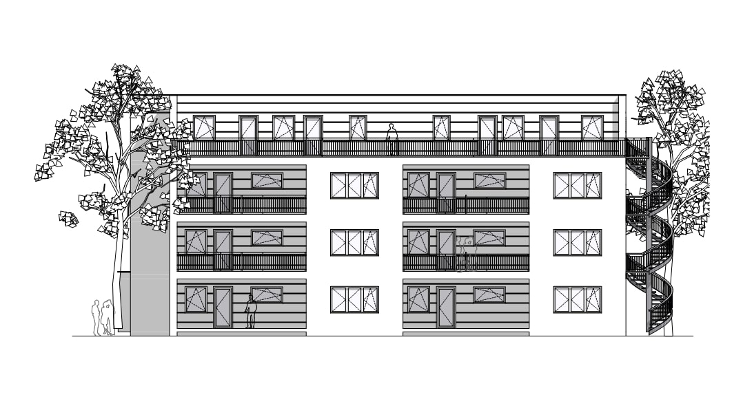 Wohnhaus in Berlin A-01 Ansicht Nord